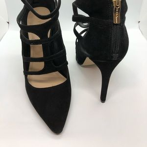 Black Suede Strappy Pointed Toe ZIP Back Pump